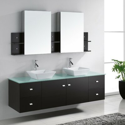 Clarissa 72 Double Bathroom Vanity Set with Tempered Glass Top and Mirror Base Finish: Gray, Faucet Finish: Brushed Nickel