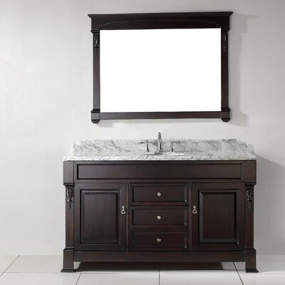 Huntshire 60 Single Bathroom Vanity Set with White Marble Top and Mirror Base Finish: Dark Walnut, Faucet Finish: No Faucet, Sink Shape: Round
