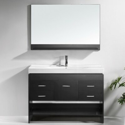 Carstens 47 Single Bathroom Vanity Set with Ceramic Top and Mirror Base Finish: Espresso, Faucet Finish: Brushed Nickel