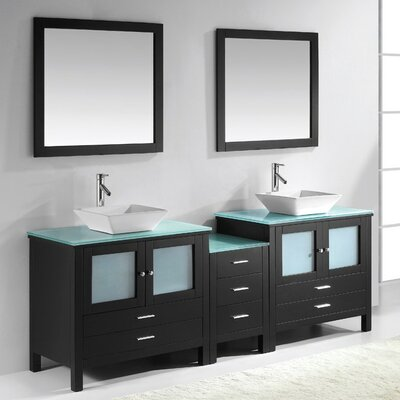 Brentford Series 89 Double Bathroom Vanity Set with Tempered Glass Top and Mirror Faucet Finish: Brushed Nickel