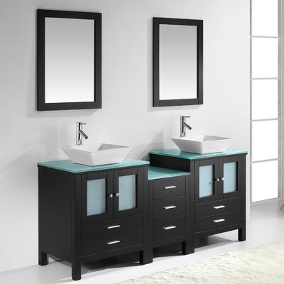 Brentford Series 72 Double Bathroom Vanity Set with Tempered Glass Top and Mirror Faucet Finish: Brushed Nickel