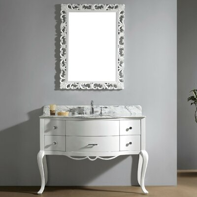 Polak 47.3 Single Bathroom Vanity Set with Gray Top and Mirror Faucet Finish: Brushed Nickel