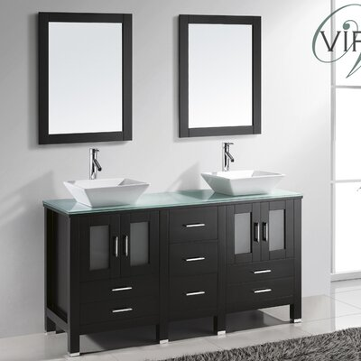 Brentford Series 60 Double Bathroom Vanity Set with Tempered Glass Top and Mirror Base Finish: White, Faucet Finish: Brushed Nickel