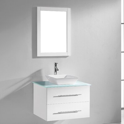 Decesare 30 Single Bathroom Vanity Set with Tempered Glass Top and Mirror Base Finish: White, Faucet Finish: Polished Chrome