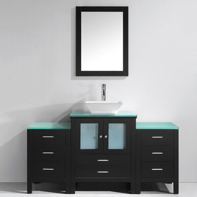 Brentford Series 63 Single Bathroom Vanity Set with Tempered Glass Top and Mirror Faucet Finish: Polished Chrome
