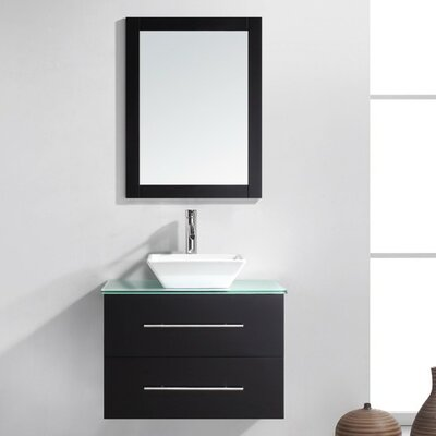 Decesare 30 Single Bathroom Vanity Set with Tempered Glass Top and Mirror Base Finish: Gray, Faucet Finish: Polished Chrome
