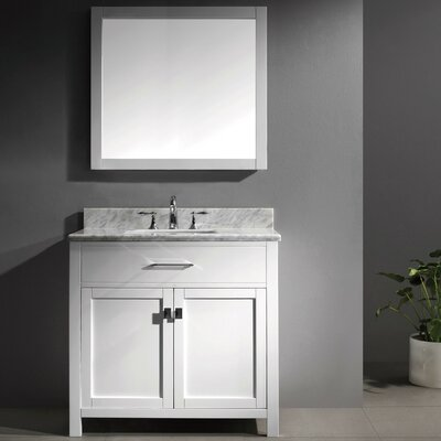 Templeton 35.8 Single Bathroom Vanity Set with Carrara White Top and Mirror Base Finish: White, Sink Shape: Round, Faucet Finish: Brushed Nickel