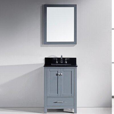 Serigne 24.8 Single Bathroom Vanity Set with Black Galaxy Top and Mirror Base Finish: Gray, Sink Shape: Round