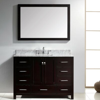 Raishon 48 Single Bathroom Vanity Set with Carrara White Top and Mirror Base Finish: White, Sink Shape: Round, Faucet Finish: Polished Chrome