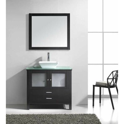 Brentford 36 Single Bathroom Vanity Set with Tempered Glass Top and Mirror
