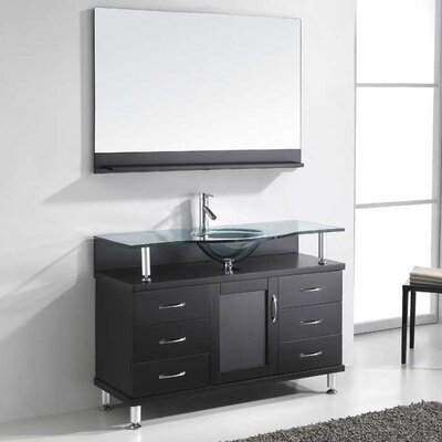 Vincente 48 Single Bathroom Vanity Set with Tempered Glass Top Base Finish: Black