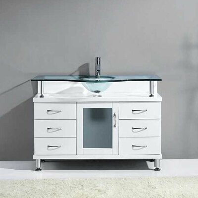 Vincente 48 Single Bathroom Vanity Set with Tempered Glass Top Base Finish: White
