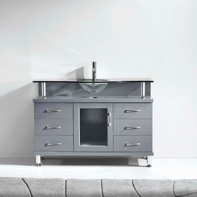 Runion 48 Single Bathroom Vanity Set with Tempered Glass Top Base Finish: Gray