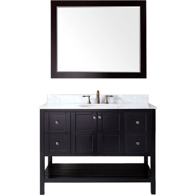 Bob 48 Single Bathroom Vanity Set Base Finish: Espresso, Sink Shape: Round