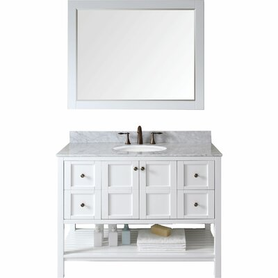 Bob 48 Single Bathroom Vanity Set Base Finish: White, Sink Shape: Round