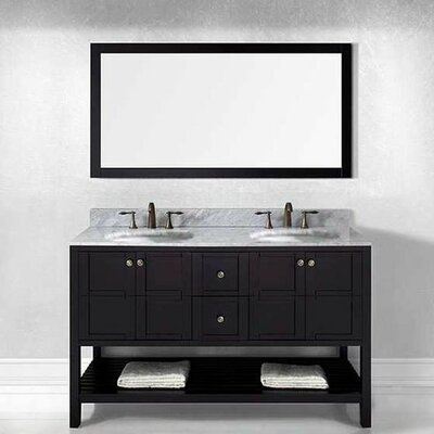 Bob 60 Double Bathroom Vanity Set with White Top and Mirror Base Finish: Espresso, Sink Shape: Round, Faucet Finish: No Faucet