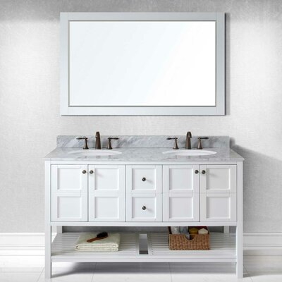 Templeton 60 Double Bathroom Vanity Set with White Carrara Top and Mirror Base Finish: White, Sink Shape: Round, Faucet Finish: No Faucet