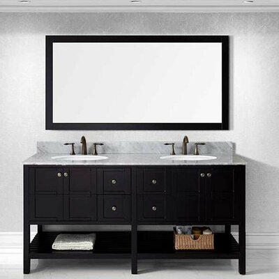 Bob 70.9 Double Bathroom Vanity Set with White Carrara Top and Mirror Base Finish: Espresso, Sink Shape: Round, Faucet Finish: No Faucet