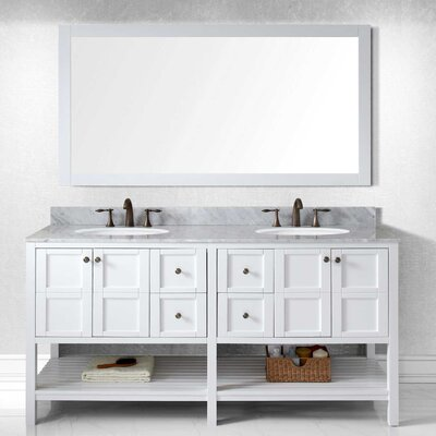 Bob 70.9 Double Bathroom Vanity Set with White Carrara Top and Mirror Base Finish: White, Sink Shape: Round, Faucet Finish: No Faucet