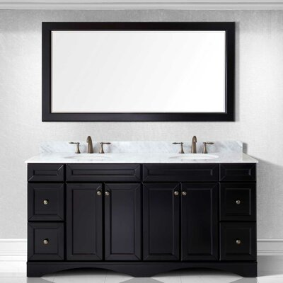 Girardeau 72 Double Bathroom Vanity Set with Mirror Base Finish: Espresso, Sink Shape: Round