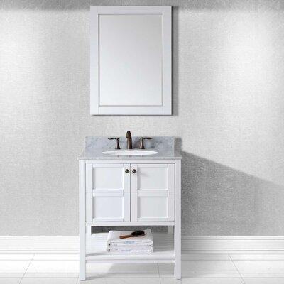 Knupp 30 Single Bathroom Vanity Set with Mirror Base Finish: White, Sink Shape: Round