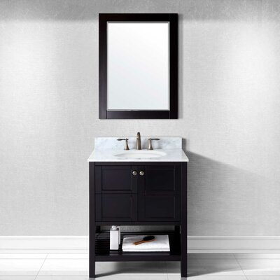 Winterfell 30 Single Bathroom Vanity Set with White Marble Top and Mirror Base Finish: Espresso, Sink Shape: Round