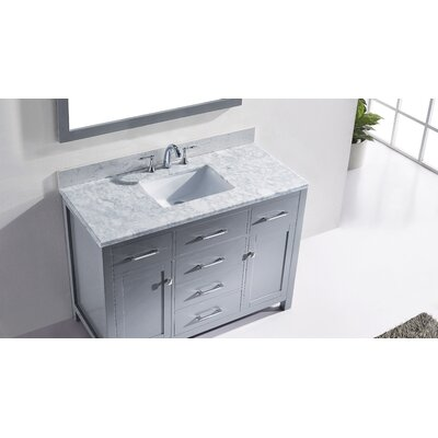 Templeton 48 Single Bathroom Vanity Set with Mirror Base Finish: Gray, Faucet Finish: Brushed Nickel, Sink Shape: Square