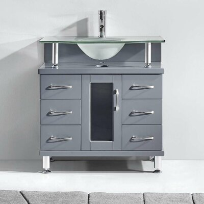 Runge 32 Single Bathroom Vanity Set with Frosted Tempered Glass Top Base Finish: Gray