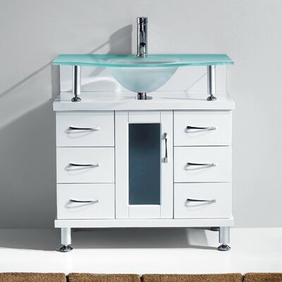 Runge 32 Single Bathroom Vanity Set with Frosted Tempered Glass Top Base Finish: White