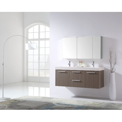 Frausto 54 Double Bathroom Vanity Set with White Polymarble Top Faucet Finish: Brushed Nickel