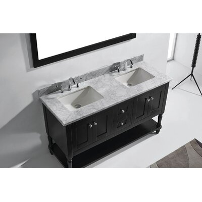 Julianna 60 Double Bathroom Vanity Set with Marble Top and Mirror Base Finish: Gray, Sink Shape: Round