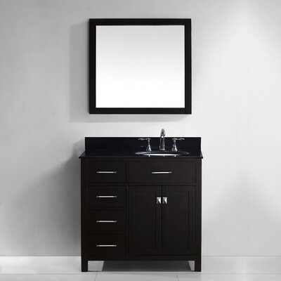 Caroline Parkway 36 Single Bathroom Vanity Set with Mirror Base Finish: White, Faucet Finish: Brushed Nickel, Sink Shape: Round