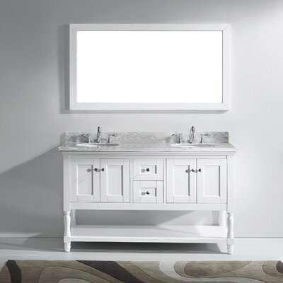 Julianna 60 Double Bathroom Vanity Set with Marble Top and Mirror Base Finish: White, Sink Shape: Round