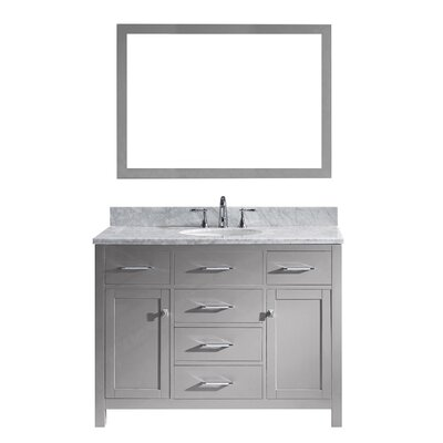 Caroline 48 Single Bathroom Vanity Set with Marble Top, Faucet and Mirror Faucet Finish: Brushed Nickel, Sink Shape: Round