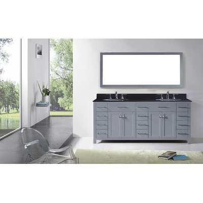 Espen Modern 78.8 Double Bathroom Vanity Set with Carrara Black Top and Mirror Base Finish: Gray, Sink Shape: Square