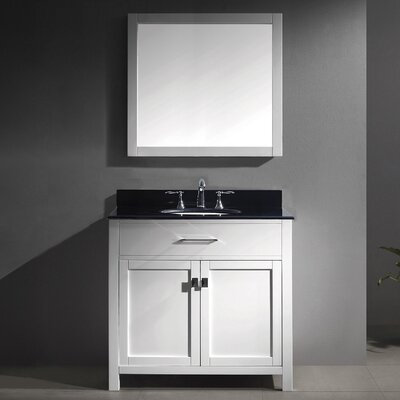 Caroline 36 Single Bathroom Vanity Set with Mirror Faucet Finish: Brushed Nickel