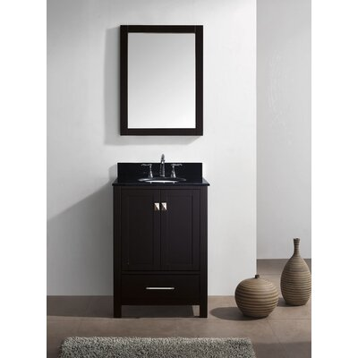 Stoneham 24.8 Single Bathroom Vanity Set with Black Galaxy Top and Mirror Base Finish: Espresso, Sink Shape: Round