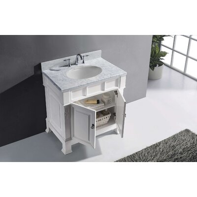 Huntshire 36 Single Bathroom Vanity Set with White Marble Top and Mirror Base Finish: White