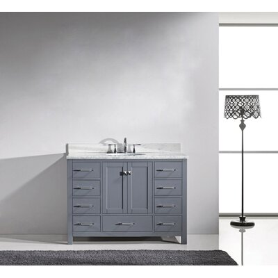 Caroline Avenue 48 Single Bathroom Vanity Set with Mirror Faucet Finish: Brushed Nickel, Sink Shape: Round