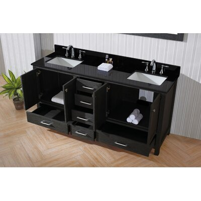 Caroline Premium 72 Double Bathroom Vanity Set with Mirror Sink Shape: Square