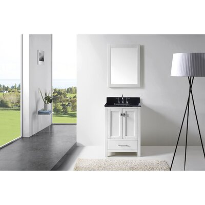 Serigne 24.8 Single Bathroom Vanity Set with Black Galaxy Top and Mirror Base Finish: White, Sink Shape: Round