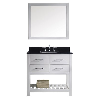 Rishaan 36 Single Bathroom Vanity Set with Mirror Base Finish: White, Faucet Finish: Polished Chrome