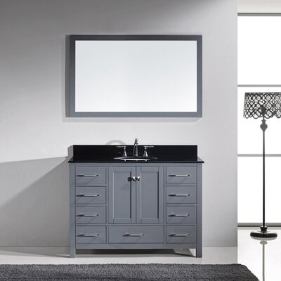 Caroline Avenue 48 Single Bathroom Vanity Set with Black Galaxy Granite Top and Mirror Base Finish: Gray, Faucet Finish: Polished Chrome, Sink Shape: Round