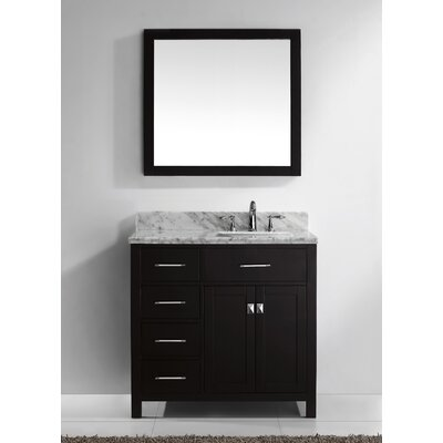 Stoughton 37 Single Bathroom Vanity Set with Carrara White Top and Mirror Base Finish: Espresso, Sink Shape: Square, Faucet Finish: No Faucet
