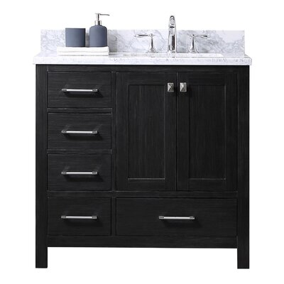 Caroline Premium 36 Single Bathroom Vanity Set with Marble Top and Mirror