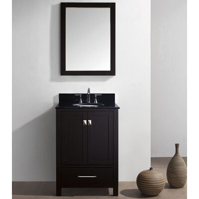 Caroline Avenue 24 Single Bathroom Vanity Set with Black Galaxy Granite Top and Mirror Base Finish: White, Faucet Finish: Brushed Nickel, Sink Shape: Square