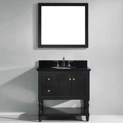 Julianna 36 Single Bathroom Vanity Set with Black Galaxy Granite Top and Mirror Base Finish: Espresso, Faucet finish: Polished Chrome, Sink Shape: Square