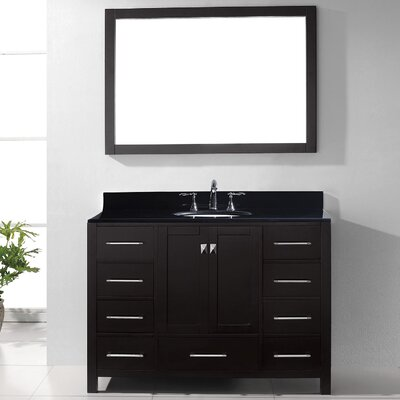 Caroline Avenue 48 Single Bathroom Vanity Set with Black Galaxy Granite Top and Mirror Base Finish: White, Faucet Finish: Brushed Nickel, Sink Shape: Square