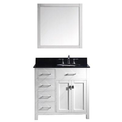 Caroline Parkway 36 Single Bathroom Vanity Set with Mirror Base Finish: White, Faucet Finish: Polished Chrome, Sink Shape: Round