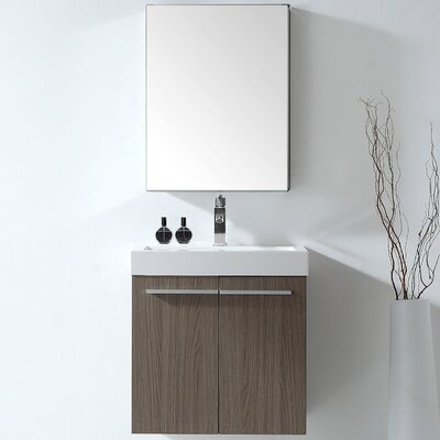 Frausto 24 Double Bathroom Vanity Set with White Polymarble Top and Mirror Faucet Finish: Polished Chrome